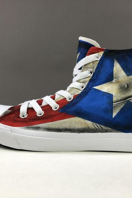 Wen Hand Painted Shoes High Top Women Men Sneakers Unisex Skateboarding Shoes Original Design Design Puerto Rico Flag