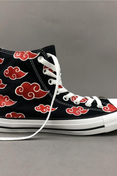Wen Hand Painted Shoes Converse High Top Women Men Converse All Star Sneakers Black Canvas Skateboarding Shoes Anime Design Naruto Akatsuki Red Cloud