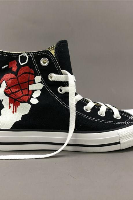 Wen Hand Painted Shoes Black Converse High Top Converse All Star Women Men Sneakers Canvas Skateboarding Shoes Green Day