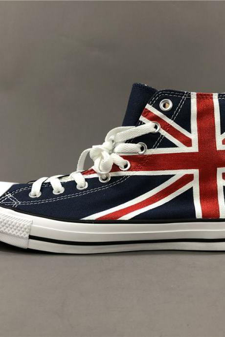 Wen Hand Painted Shoes Blue Converse High Top Women Men Converse All Star Sneakers Canvas Skateboarding Shoes Anime Design UK England Flag