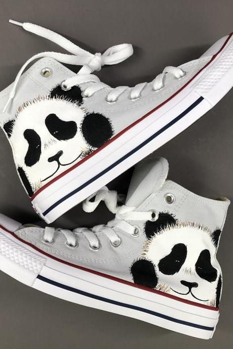 Wen Hand Painted Shoes Panda Original Design Converse High Top Women Men Converse All Star Sneakers Canvas Skateboarding Shoes